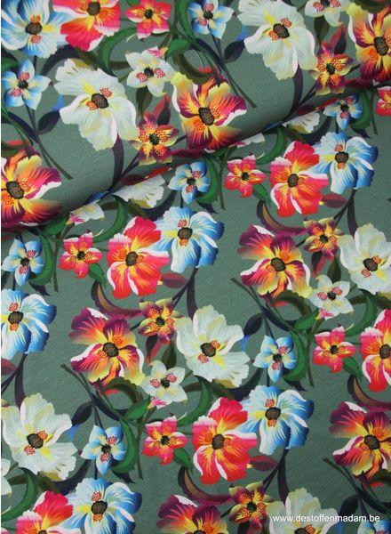Bloemen rood en blauw -  tricot