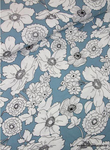 witte bloemen ijsblauw - Italiaanse viscose