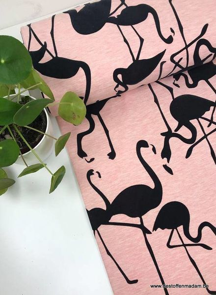flocked flamingo roze - french terry