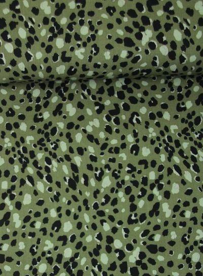 spots khaki - viscose twill
