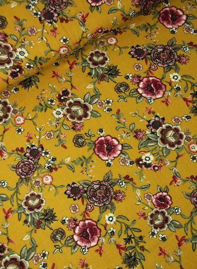 flowers ochre - viscose twill