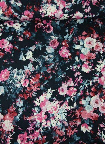 roze roses marine -  viscose twill