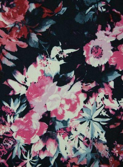 roses pink navy - viscos twill