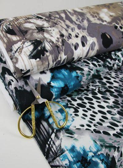 petrol klassieke print - viscose tricot