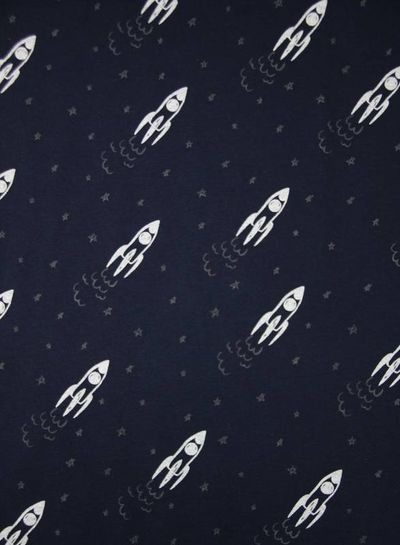 GLOW IN THE DARK jersey - rocket ship navy