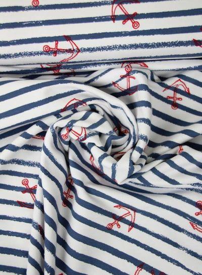blauw anker en streepjes - french terry