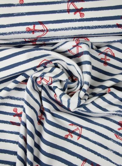 blue anchors and stripes - french terry
