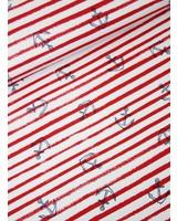 rood anker en streepjes - french terry