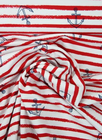 red anchors and stripes - french terry