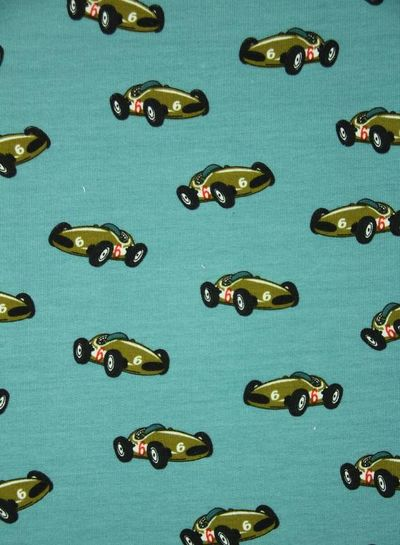 race-auto lichtblauw - french terry