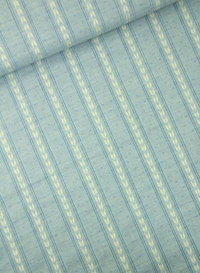 blauwe katoen met linnen look
