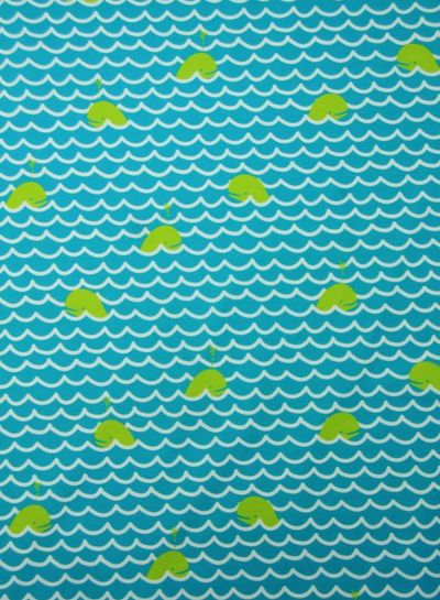 whales turquoise - bathing suit fabric