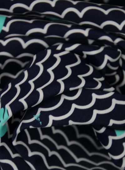 whales navy - bathing suit fabric