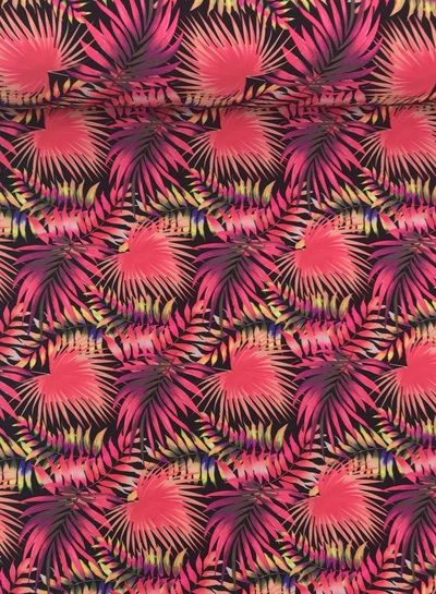 fluo pink leaves - bathing suit fabric