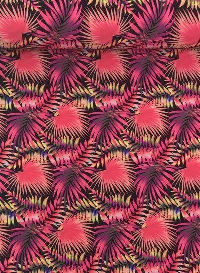 fluo roze bladeren - badpakkenstof