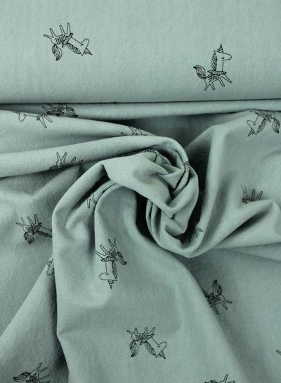 unicorns blue - cotton with texture