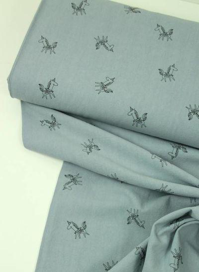 unicorns blauw - katoen met textuur