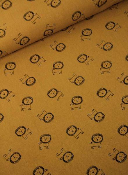 leeuwtjes bruin -  katoen met textuur