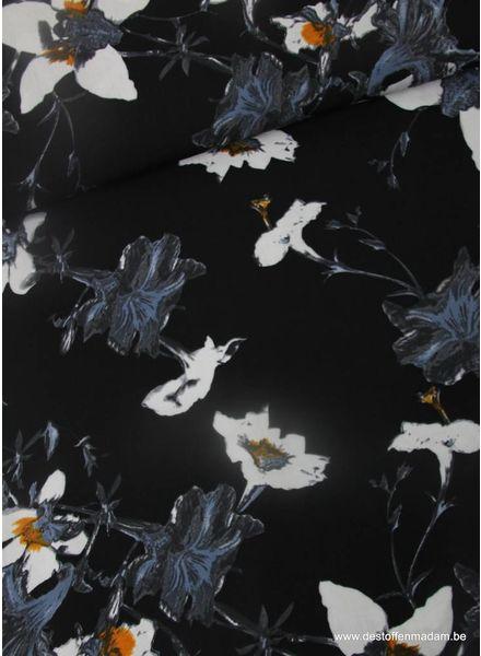 flowers navy - Italien viscose