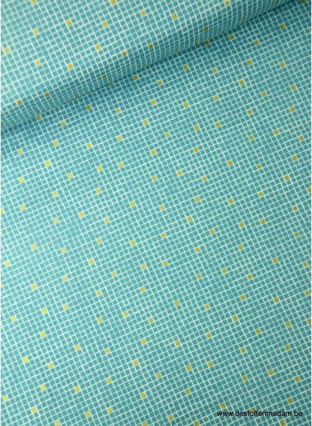 turquoise little tiles - cotton