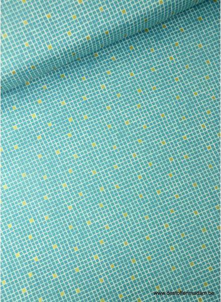 turquoise little tiles - katoen