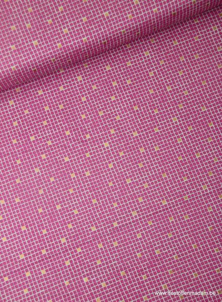 pink little tiles - cotton