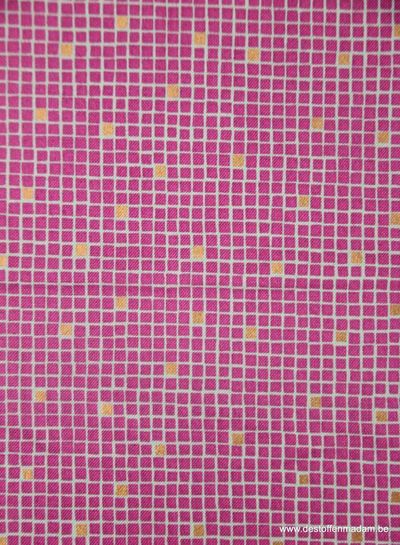 pink little tiles - katoen