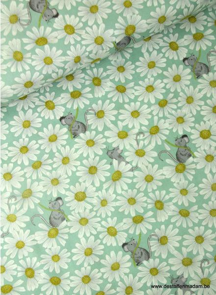 mint little mouse & daisies on duck - cotton