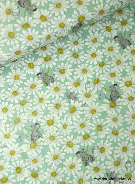 mint little mouse & daisies on duck - katoen