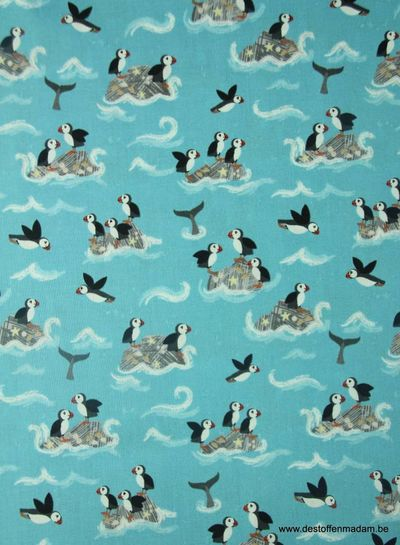 puffin rocks on turquoise - cotton