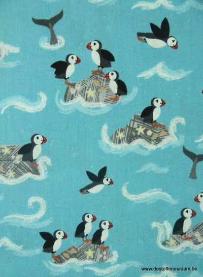 puffin rocks on turquoise - katoen