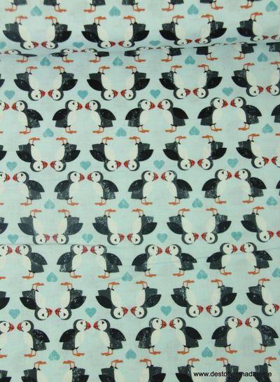 puffin pairs on blue - katoen