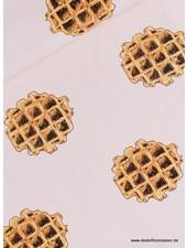 Waffle - French Terry - Gesluierd Roze