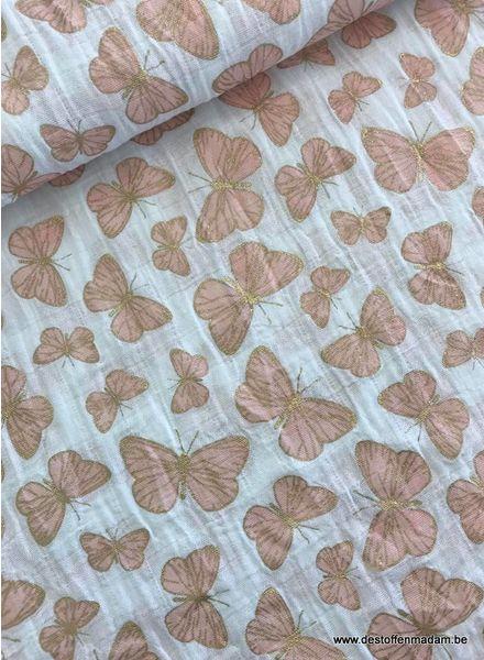 Shannon Fabrics glitter vlinders roze - double gauze