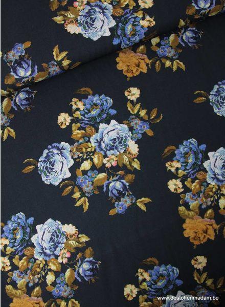 bruine en blauwe bloemen - viscose