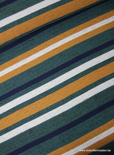 green/ochre striped - woven jacquard