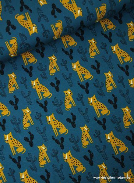 cactussen en tijgers blauw -  tricot