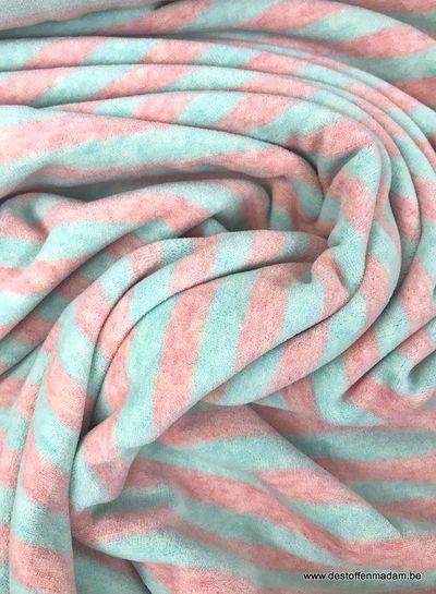 mint/roze gestreept - nicky velours