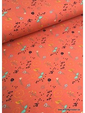 flowers orange - sweat fabric