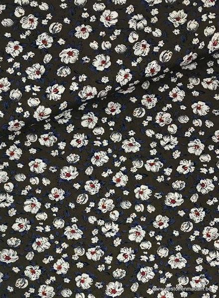 taupe flowers - viscose