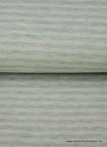 groen/grijs gestreept - interlock  ajour structuur