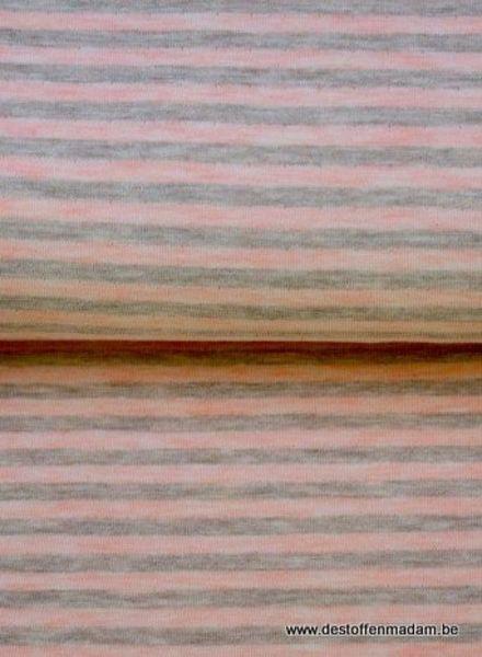 roze/grijs gestreept - interlock  ajour structuur