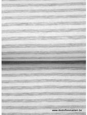 wit/grijs gestreept - interlock  ajour structuur