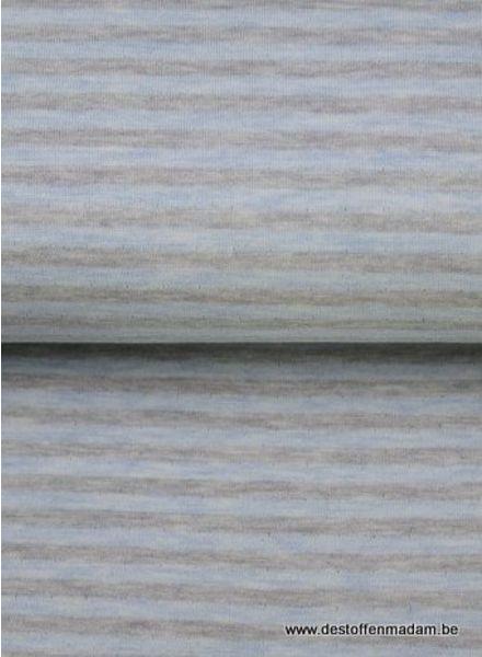 blauw/grijs gestreept - interlock  ajour structuur