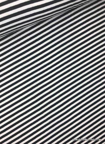 zwart/Wit gestreept - interlock  ajour structuur S
