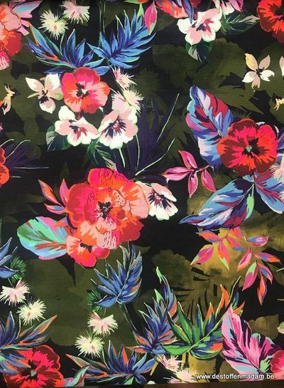 colored flowers - Italian polyester fabric