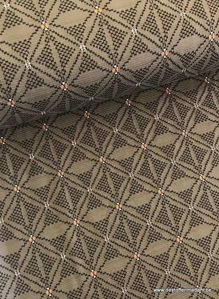 khaki bloem -  structuur tricot