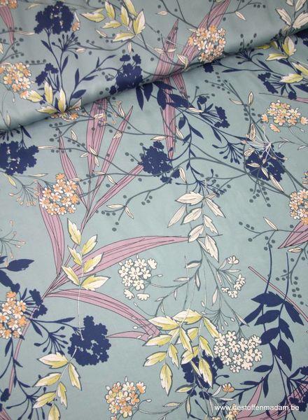 LMV - fantasie bloemen blauw - viscose