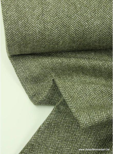 khaki tweed look - wollen stof