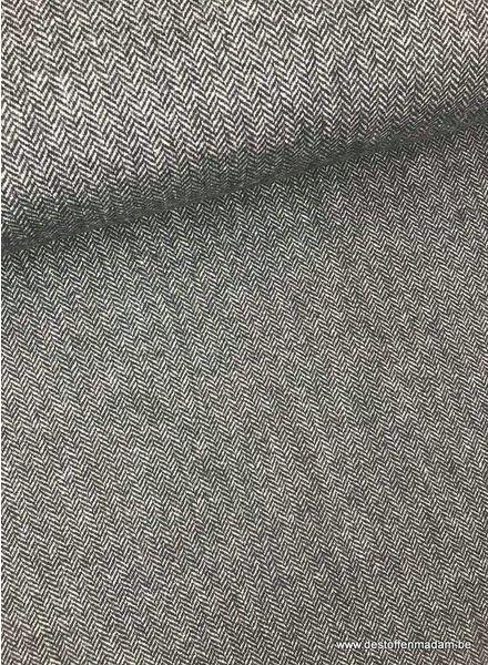 zwart tweed look - wollen stof